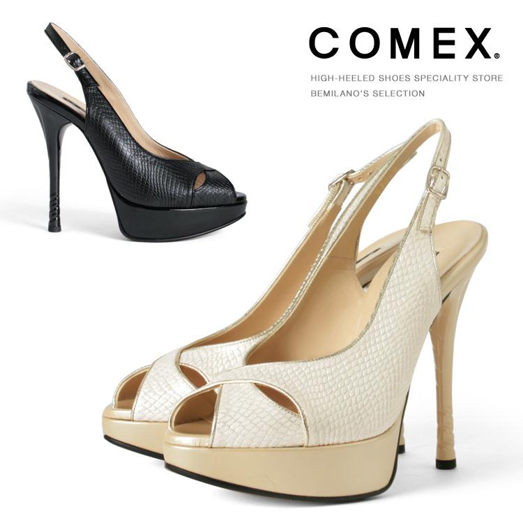コメックス パンプス ハイヒール オープントゥ バックストラップ パイソン ピンヒール ヒール13cm パンプス COMEX ヒール (53040) 結婚式 靴 【送料無料】