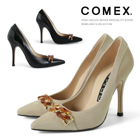 訳あり アウトレット コメックス パンプス ハイヒール 10cmヒール ポインテッドトゥ ピンヒール 本革 スエード 異素材コンビ パンプス (5583) 美脚パンプス 靴
