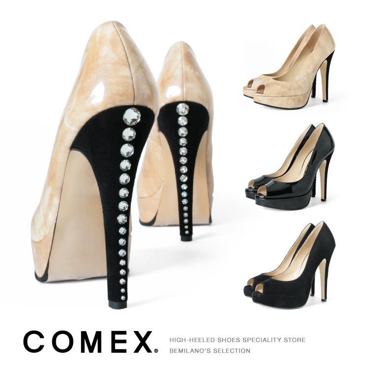 コメックス パンプス ハイヒール オープントゥ スエード ヒール13cm ピンヒール エナメル スワロフスキー ヒール (5608) パーティ 結婚式 靴 【送料無料】