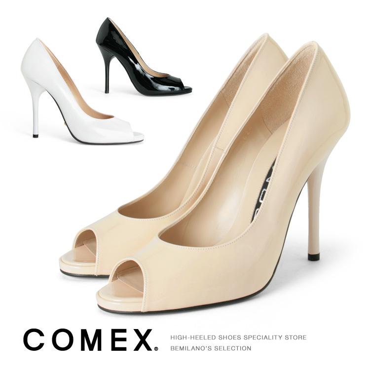 コメックス パンプス ハイヒール オープントゥ ピンヒール ヒール10cm エナメル パンプス COMEX ヒール (5624) 結婚式 パーティ 靴 【送料無料】