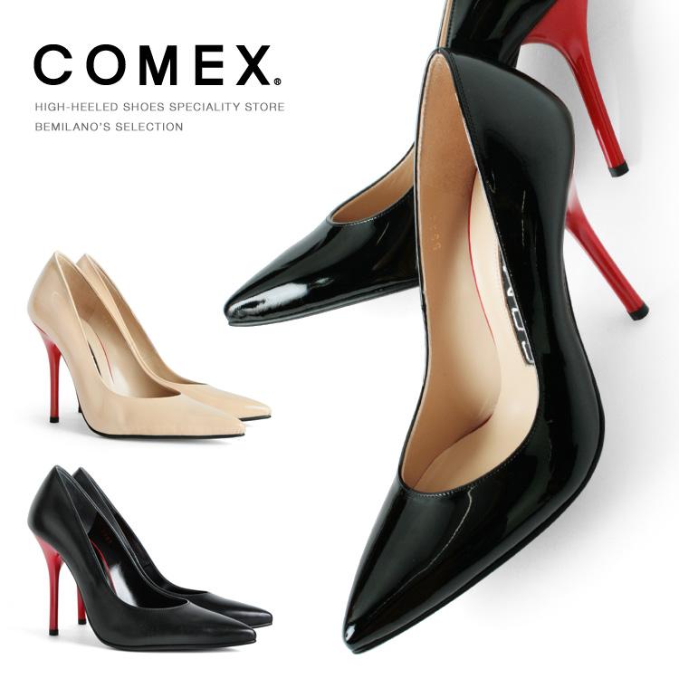 パンプス COMEX ハイヒール ポインテッドトゥ ピンヒール ヒール10cm レッドヒール コメックス (5640) 結婚式 パーティ 靴 【送料無料】