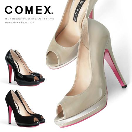 コメックス パンプス ピンヒール ヒール13cm オープントゥ ハイヒール エナメル スエード 本革 ヒール (7205) 美脚 スエード 結婚式 靴 【送料無料】