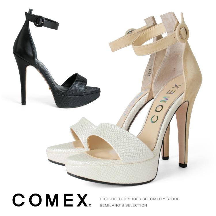 コメックス パンプス ピンヒール ヒール12cm オープントゥ ハイヒール サンダル アンクルベルト COMEX ヒール (7268) 結婚式 パーティ 靴 【送料無料】
