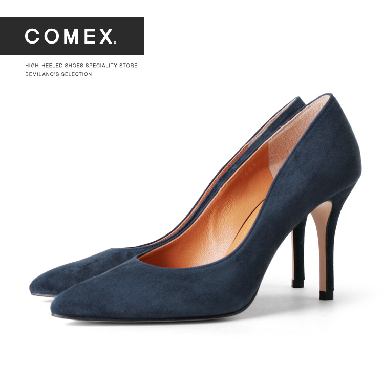COMEX パンプス ポインテッドトゥ ハイヒール スエード ピンヒール ネイビー コメックス 5609