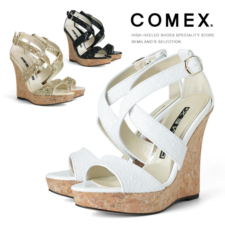 コメックス サンダル ハイヒール ヒール12cm ラメ クロスベルト ウエッジソール ストラップ コルク ヒール (3005) 結婚式 パーティー 靴 【送料無料】