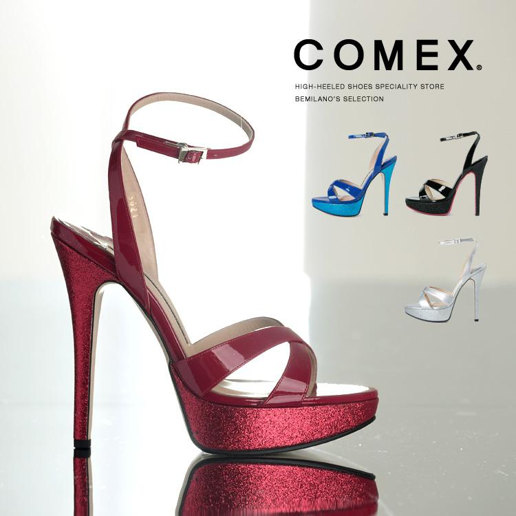 コメックス サンダル ハイヒール ヒール14cm ピンヒール エナメル 厚底 グリッターラメ プラットフォーム COMEX ヒール (5621) 結婚式 パーティ 靴 【送料無料】