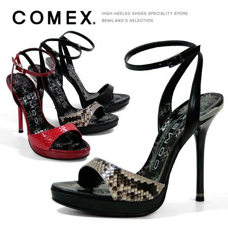 コメックス サンダル ピンヒール ヒール12cm アンクルストラップ エナメルサンダル COMEX ヒール (5399) 結婚式 靴 【送料無料】