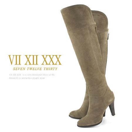 セブントゥエルブサーティー ニーハイブーツ ベロア 太ヒール ヒール9cm ブーツ オーク VII XII XXX レディース ヒール (116016) 靴 【送料無料】
