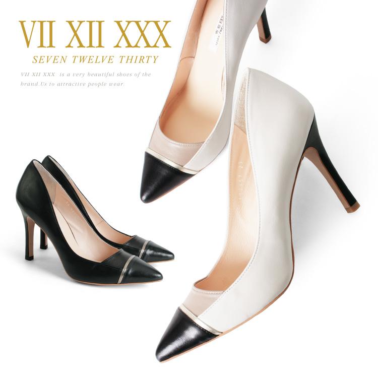 パンプス セブントゥエルブサーティー ポインテッドトゥ ハイヒール ピンヒール ヒール10cm 異素材コンビ VII XII XXX ヒール (102357) 結婚式 パーティ 靴 【送料無料】