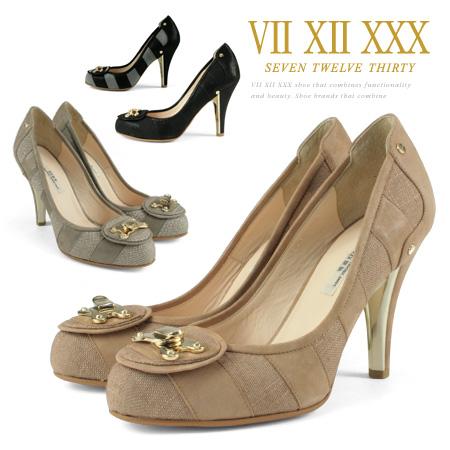 セブントゥエルブサーティー パンプス ボーダー ラウンドトゥ ヒール9cm VII XII XXX ヒール (105154) 美脚 靴 【送料無料】