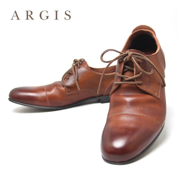 ARGIS ローカットレザーシューズ メンズ カジュアル 25.5cm 26.0cm 26.5cm 27.0cm 27.5cm 28.0cm BROWN 91102 / アルジス あるじす 革靴 本革 牛革 シューズ 紐 シューレース 日本製 国産ブランド 茶 ブラウン