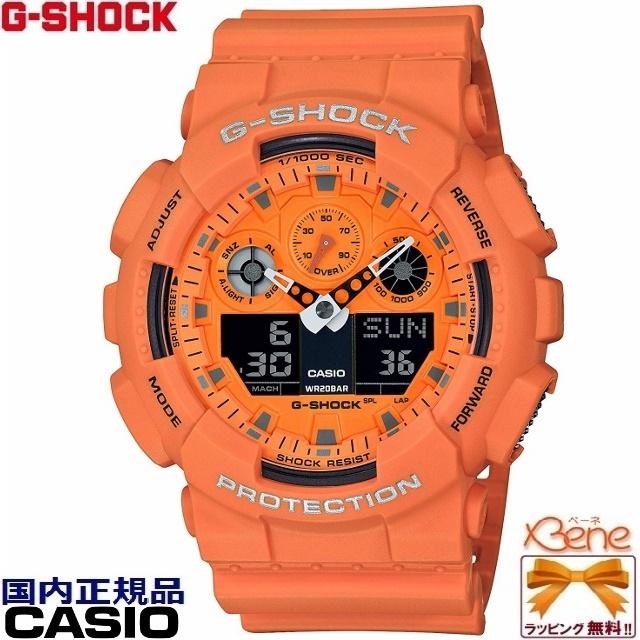 [新品!正規品/送料無料]CASIO/カシオ G-SHOCK/ジーショック Hot Rock Sounds/ホットロックサウンド BIG CASE/ビッグケース GA-100Series アナログデジタル メンズクオーツ 20気圧防水 ワールドタイム JIS1種耐磁 オレンジ GA-100RS-4AJF