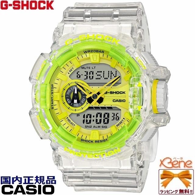 '19-4-6[正規品/送料無料!]CASIO G-SHOCK/ジーショック Clear Skeleton/クリアスケルトン BIG CASE/ビッグケース アナデジ メンズクオーツ 20気圧防水 ロータリースイッチ ワールドタイム ホワイト×イエロー GA-400SK-1A9JF