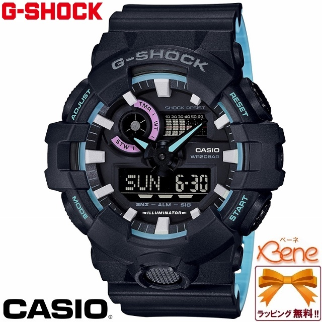 [正規品/送料無料]CASIO/カシオ G-SHOCK/ジーショック Neon accent color/ネオンアクセントカラー メンズクオーツ ワールドタイム 3Dビッグケースアナデジ 2色成形/バイカラーバンド 20気圧防水 黒 ブルー ピンク GA-700PC-1AJF