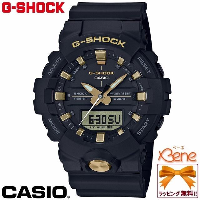 [正規品/送料無料!]CASIO G-SHOCK/ジーショック BLACK&GOLD/ブラック×ゴールド メンズクオーツ ミドルケース 3針アナデジ 20気圧防水 ストップウォッチ デュアルタイム フロントボタン スーパーイルミネーター GA-810B-1A9JF イエローゴールド