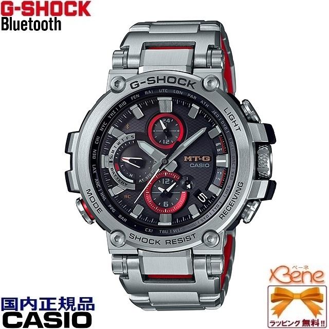 [正規品/送料無料]CASIO G-SHOCK MT-G Bluetooth®搭載 タフソーラー電波 TRIPLE G RESIST 新コアガード構造 ミドルサイズ レイヤーコンポジットバンド デュアルダイアルワールドタイム シルバー/レッド MTG-B1000D-1AJF