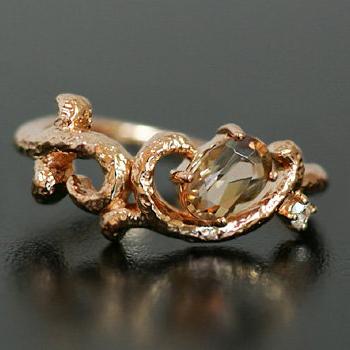 アンダリューサイト×ローズカットダイヤモンドリング「ブランチ」送料無料