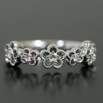 エントリーのみでポイント10倍 4/9 20時~ ローズカット ダイヤモンド リング「フラワーガーデン」対応金種:K18(ホワイトゴールド、イエローゴールド、シャンパンゴールド、ピンクゴールド)、