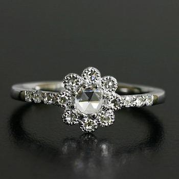 エントリーのみでポイント10倍 4/9 20時~ 人気★再販 ローズカット ダイヤモンド リング、3.8ミリの輝き 「フィオレット」対応金種:K18(ホワイトゴールド、イエローゴールド、シャンパンゴールド、ピンクゴールド)
