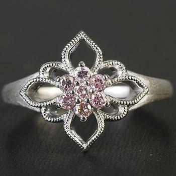 GWイベント開催中 ブリエピエール クレストフラワー ピンクダイヤモンドリング 誕生石 4月 春色ピンク2020 母の日