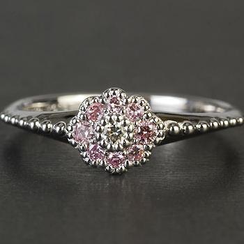 クラシカルフラワー ピンクダイヤモンドリング  誕生石 4月 春色ピンク