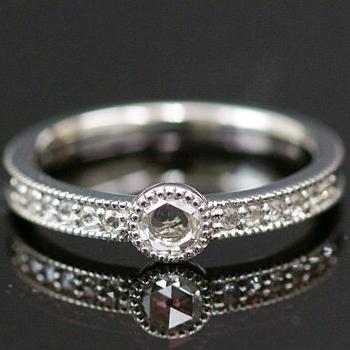 エントリーのみでポイント10倍 4/9 20時~ アンティークの魅力たっぷりローズカット ダイヤモンド リング「ガルボ」
