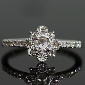 """エントリーのみでポイント10倍 4/9 20時~ ローズカット ダイヤモンド リング """"レジーナ""""対応金種:K18(ホワイトゴールド、イエローゴールド、シャンパンゴールド、ピンクゴールド)、"""