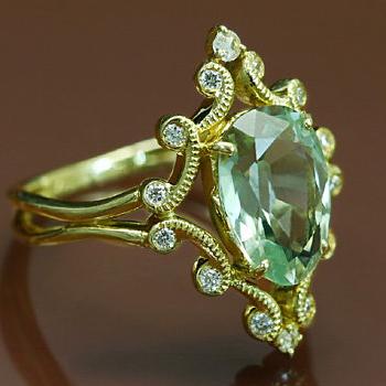 GWイベント開催中 人気★再販 グリーンクォーツXダイヤモンド「ドレスデングリーン」リング 誕生石 4月 母の日