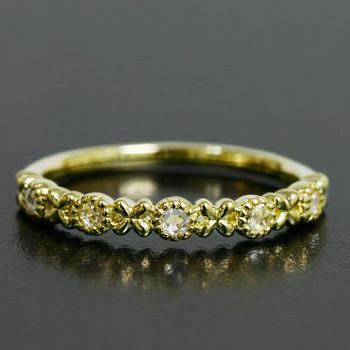 小花がポイント! ローズカットダイヤモンドリング