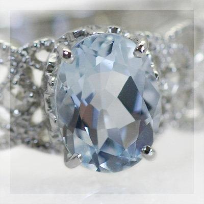 アクアマリン×ローズカットダイヤモンドリング