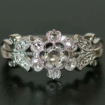 ローズカットダイヤモンド×ブリリアントダイヤモンドフラワーデザインリング 誕生石 4月