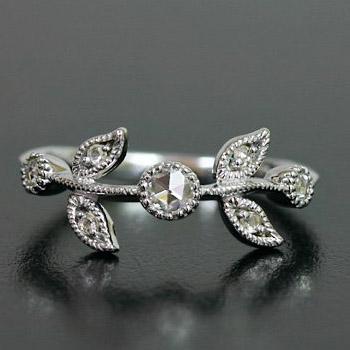 GWイベント開催中 ローズカット ダイヤモンド リング「クラシカルリーフ」対応金種:K18(ホワイトゴールド、イエローゴールド、シャンパンゴールド、ピンクゴールド)、 誕生石 4月 母の日