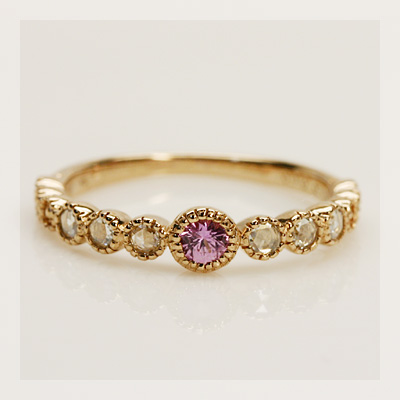 ピンクサファイア×ローズカットダイヤアンティークリング 誕生石 4月 9月 春色ピンク