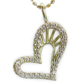 エントリーのみでポイント10倍 4/9 20時~ 「オーロ/ダイヤモンドオープンハートペンダントトップ」ゴールド ネックレス(チェーン無し)送料無料