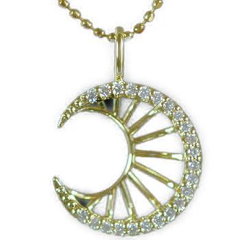 GWイベント開催中 オーロ/月モチーフダイヤモンドペンダントトップ」ゴールド ネックレス(チェーン無し) 誕生石 4月 母の日