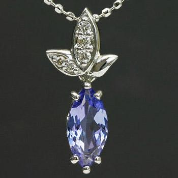 GWイベント開催中 タンザナイト×ダイヤモンド揺れる木の葉のペンダントトップ(チェーン無し) 誕生石 4月 12月 母の日