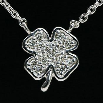 GWイベント開催中 幸せいっぱい♪クローバーのダイヤモンドペンダント(チェーン付き) 誕生石 4月 母の日
