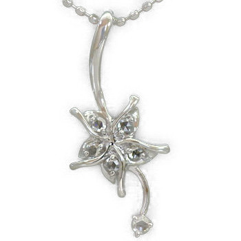 K18 ペンダント ローズカットダイヤモンド  「ホワイトマグノリア」ローズカットダイヤモンドペンダントトップ(チェーン無し) 誕生石 4月