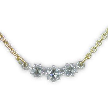 GWイベント開催中 K18コンビ ローズカットダイヤモンドペンダント(チェーン付き) 誕生石 4月 母の日