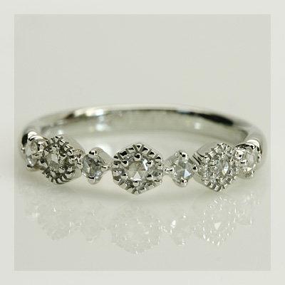 GWイベント開催中 ローズカットダイヤモンド「ヘキサゴン」リング 誕生石 4月 母の日