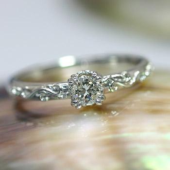 エントリーのみでポイント10倍 4/9 20時~ 《ベーネブリリアント》 K18ダイヤモンドリング ツタの葉モチーフ3.7ミリ ダイヤモンドデザインリング