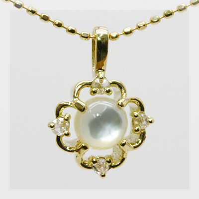 白蝶貝×ローズカットダイヤモンド ペンダント 誕生石 4月