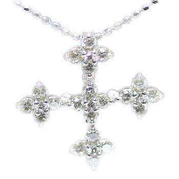 """ダイヤモンドをふんだんに使って""""雪の結晶のようなキラメキ""""ダイヤモンドクロスペンダントトップ 誕生石 4月"""