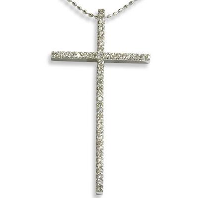 《ベーネブリリアント》ダイヤモンドライン クロス ペンダントネックレス(ペンダントトップ) 誕生石 4月