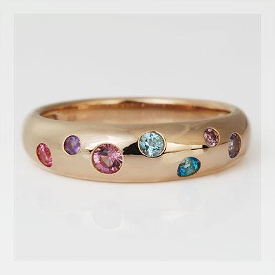 GWイベント開催中 マルチカラー7色の宝石ドッツリング「モナコ」ピンキーサイズもお選び頂けます 母の日