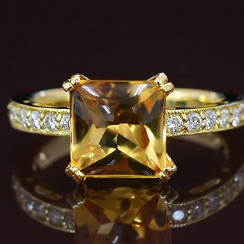 シトリンスクエアバフトップ×ダイヤモンドリング 誕生石 4月 11月