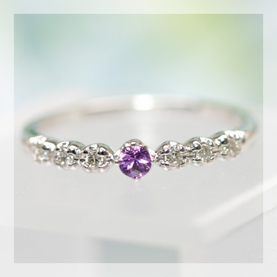 バイオレットサファイア&ダイヤモンドリング 誕生石 4月 9月