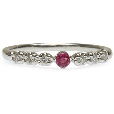 同じ指に重ねて華のある手もとづくり!ピンクトルマリン&ダイヤモンドリング 誕生石 4月 10月 春色ピンク