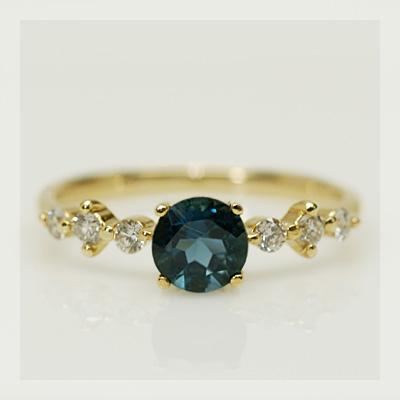 ロンドンブルートパーズ×ダイヤモンド「グレース」リング 誕生石 4月 11月
