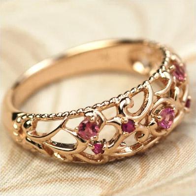 GWイベント開催中 ルビー×ピンクトルマリン ヴァインリング 誕生石 7月 10月 春色ピンク2020 母の日